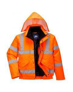 Hi-Vis Bomber Jacket, Orange 3XL