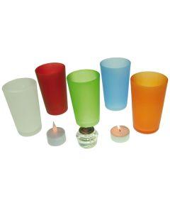 Glass Holder for Led Candles - Green